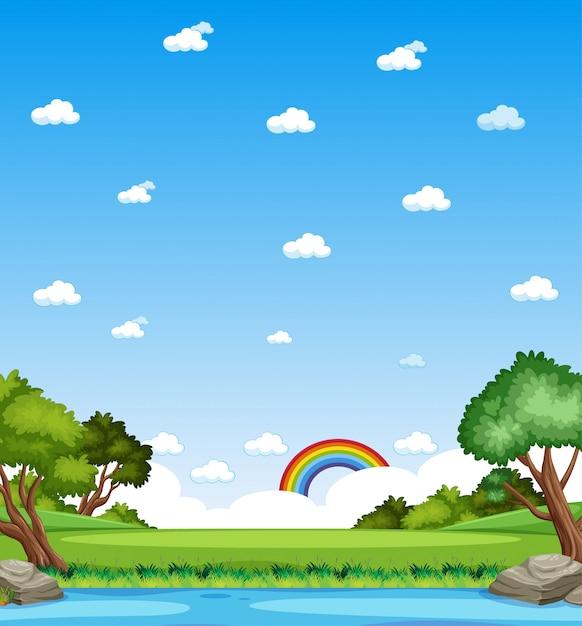 Vertikale naturszene oder landschaftslandschaft mit waldblick und regenbogen im leeren himmel am tag Premium Vektoren