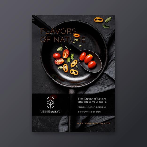 Vertikale plakatschablone des gesunden restaurants Kostenlosen Vektoren