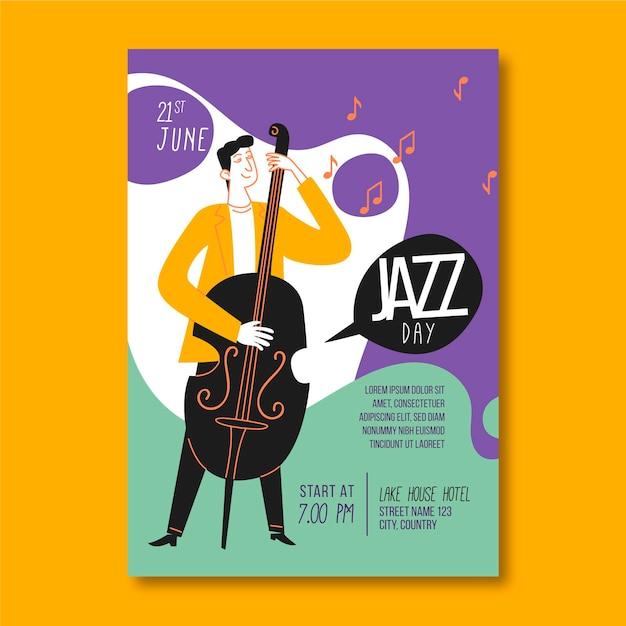 Vertikale plakatschablone des internationalen jazz-tages mit mann und bass Kostenlosen Vektoren