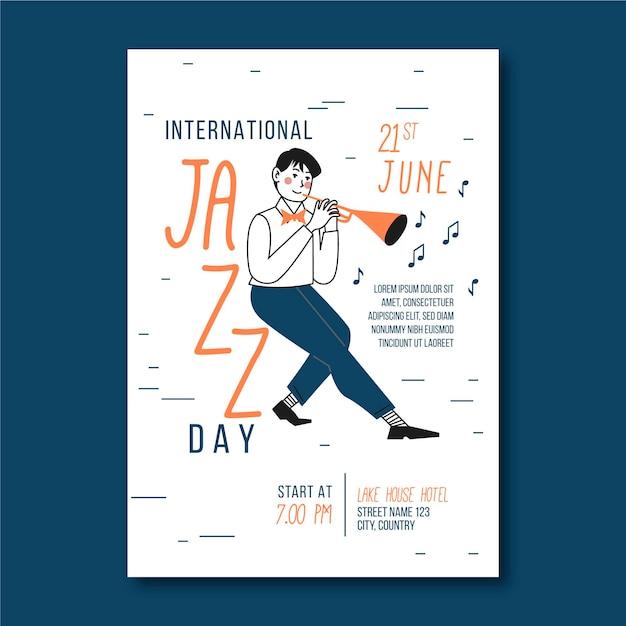 Vertikale plakatschablone des internationalen jazz-tages mit mann und trompete Kostenlosen Vektoren