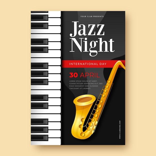 Vertikale plakatschablone des internationalen jazz-tages mit saxophon- und klaviertasten Kostenlosen Vektoren