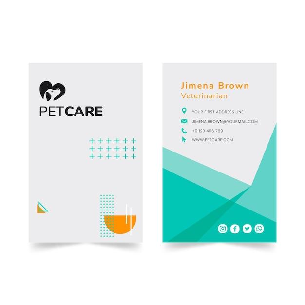 Vertikale visitenkarte der tierklinik und der gesunden haustiere Premium Vektoren