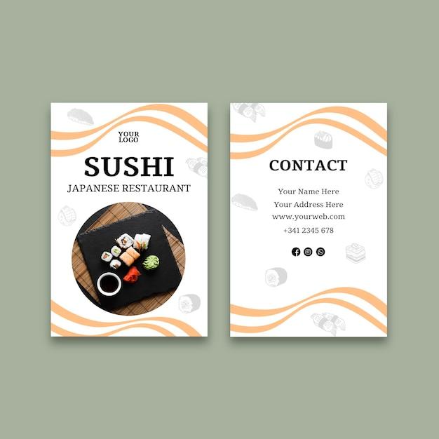 Vertikale visitenkartenschablone des sushi-restaurants Kostenlosen Vektoren