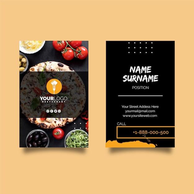 Vertikale visitenkartenvorlage für pizzarestaurant Premium Vektoren