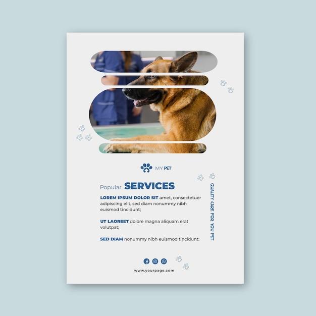 Vertikale vorlage für veterinärflieger Kostenlosen Vektoren