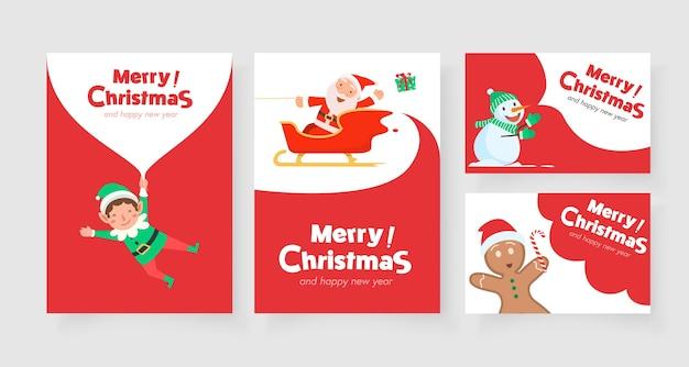 Vertikale weihnachtskarte mit weihnachtsmann-rentier und weihnachtsmann-helfer Kostenlosen Vektoren