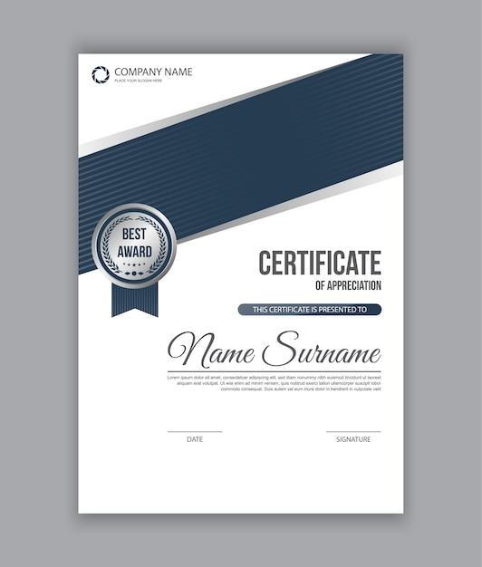 Vertikale Zertifikatvorlage mit Medaille. Vektor | Download der ...