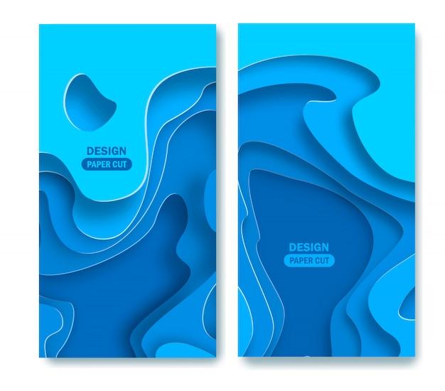 Vertikaler abstrakter blauer hintergrund mit papierschnittformen Premium Vektoren