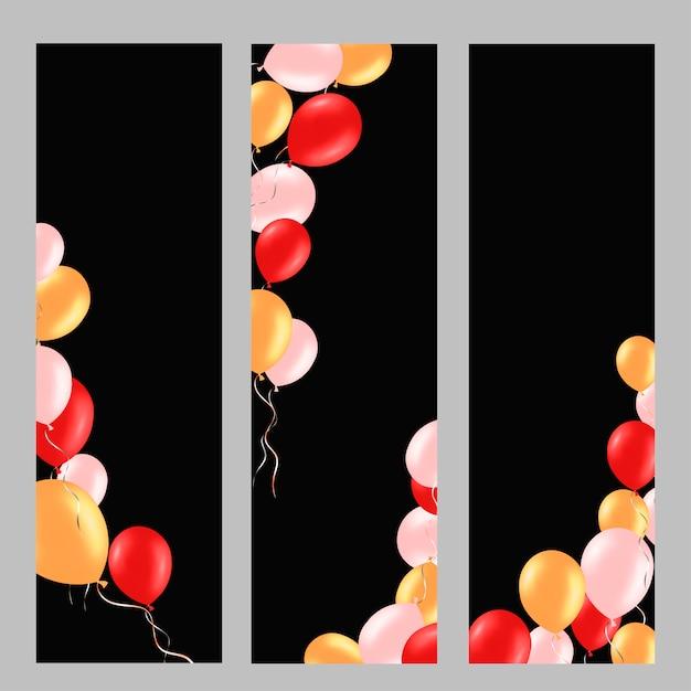 Vertikaler hintergrund eingestellt mit bunten heliumballonen. Premium Vektoren