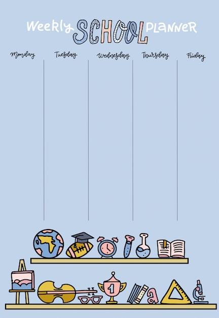 Vertikaler stundenplan für die grundschule. wöchentliche planerschablone mit karikaturschulobjekten und -symbolen auf pastellblauem hintergrund Premium Vektoren