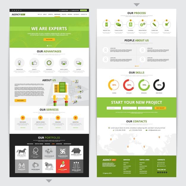 Vertikales design der webseite mit neuen projektsymbolen gesetzt Kostenlosen Vektoren