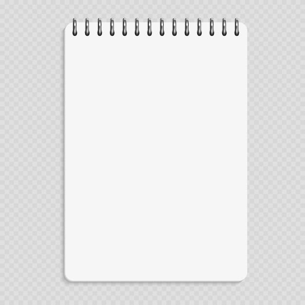 Vertikales notizbuch - sauberes notizblockmodell lokalisiert auf transparentem hintergrund Premium Vektoren