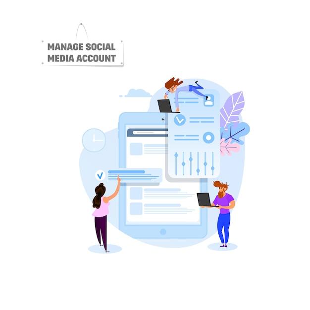 Verwalten sie ein social media-konto Premium Vektoren