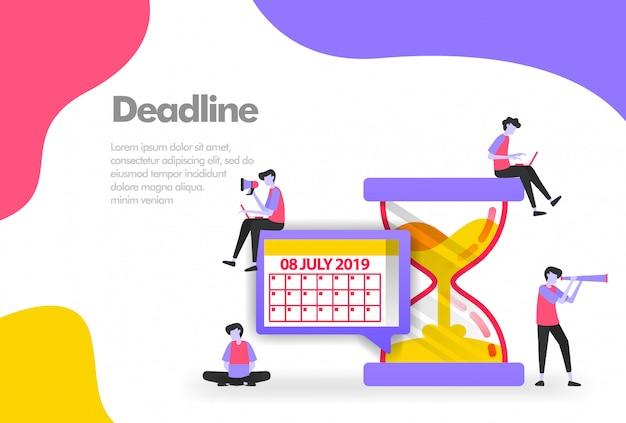 Verwalten von arbeitsplänen, kalender und sanduhr-banner Premium Vektoren