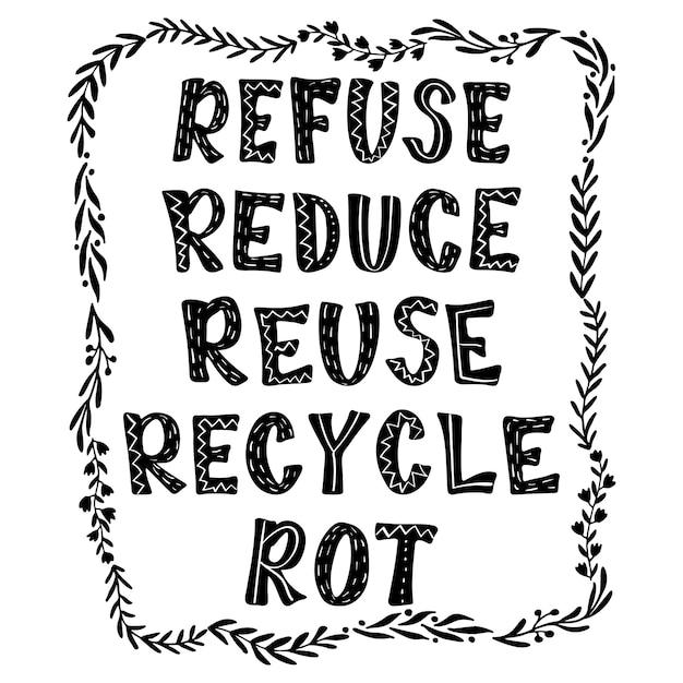 Verweigern, reduzieren, wiederverwenden, recyceln, verrotten. umweltfreundliche beschriftung. Premium Vektoren
