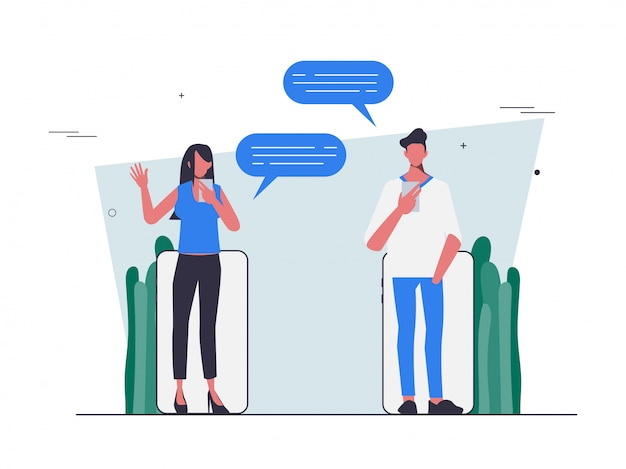 Verweisen sie freunde mit chat-kommunikation flat people design. Premium Vektoren