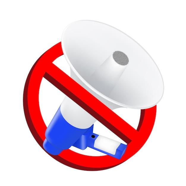 Verwenden sie keine tonverbotsschilder mit megaphon Premium Vektoren