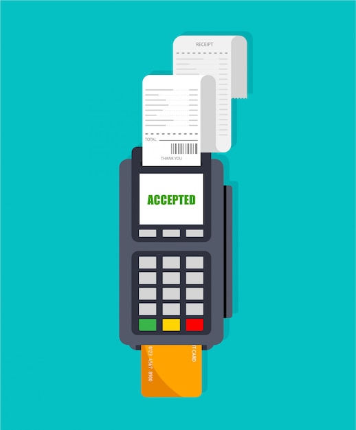 Verwendung des pos-terminals. maschinensteckplatz mit quittung. akzeptierte zahlung per kreditkarte und eingegebene pin. isoliert. Premium Vektoren