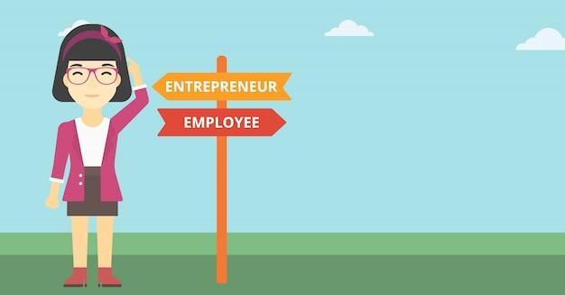Verwirrte frau, die karrierebahn wählt. Premium Vektoren