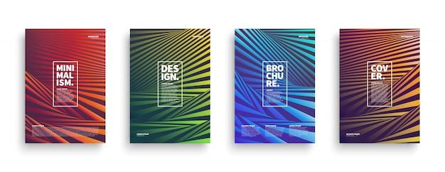 Verzerrte streifen broschüre covers set Premium Vektoren