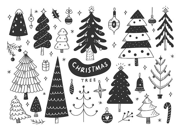 Verzierte weihnachtsbaumkritzeleien, weihnachtsgestaltungselemente Premium Vektoren