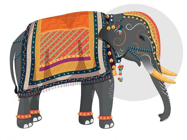 Verzierter charakter des elefanten Premium Vektoren