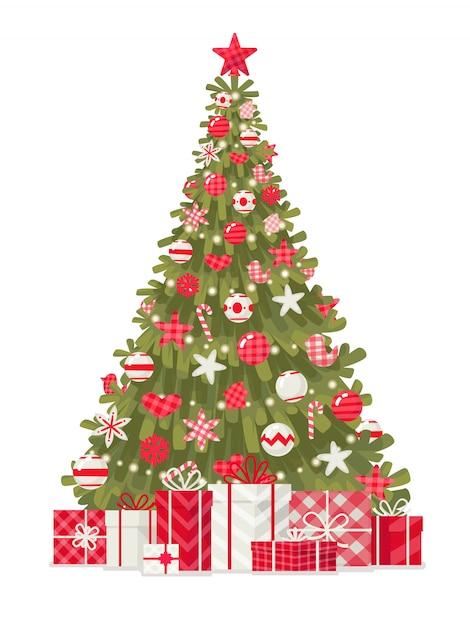 Verzierter weihnachtsbaum mit geschenken auf einem weißen hintergrund. frohe weihnachten und ein glückliches neues jahr Premium Vektoren