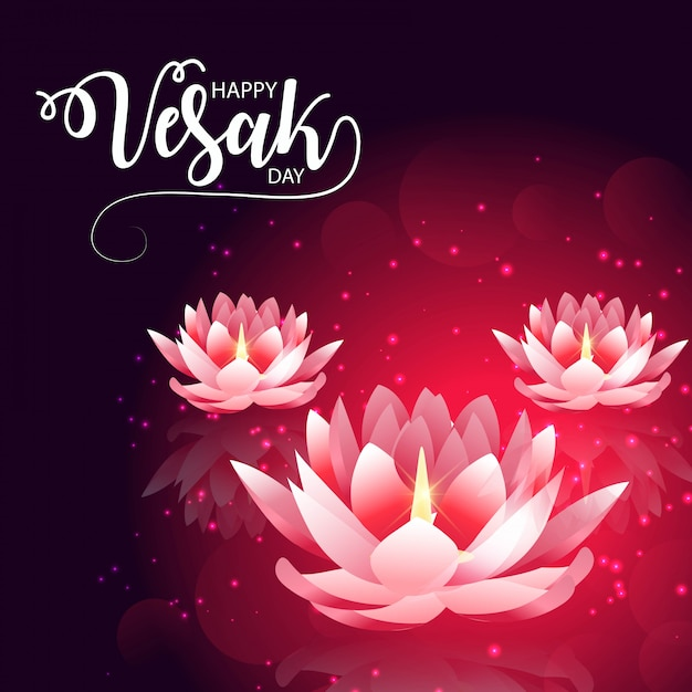 Vesak day mit rosa lotusblume Premium Vektoren