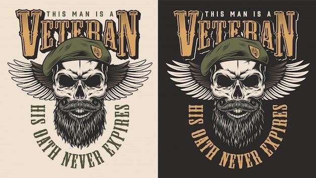 Veteran konzept emblem Kostenlosen Vektoren