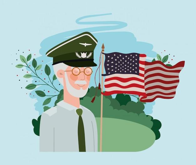 Veteranen-soldat mit usa-flagge auf dem gebiet Premium Vektoren