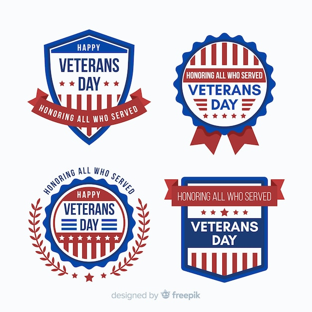 Veteranen tag abzeichen sammlung mit uns flagge elemente Kostenlosen Vektoren