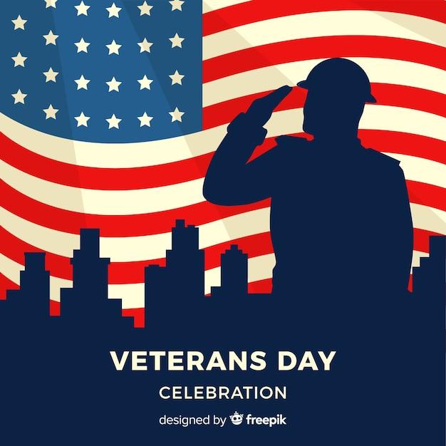 Veteranen tag hintergrund mit uns flagge elemente Kostenlosen Vektoren