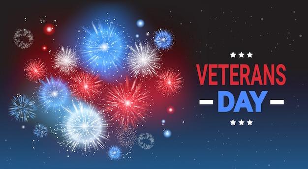 Veteranen-tagesfeier-nationale amerikanische feiertags-fahne über usa-flagge farbigem feuerwerks-hintergrund Premium Vektoren