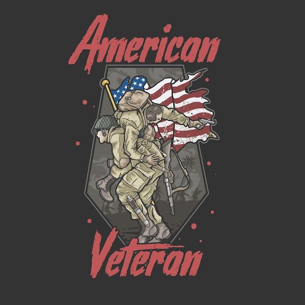 Veteranenillustration der amerikanischen bruderschaftsarmee Premium Vektoren