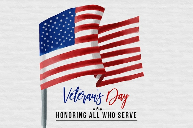 Veteranentag mit aquarell flagge Kostenlosen Vektoren