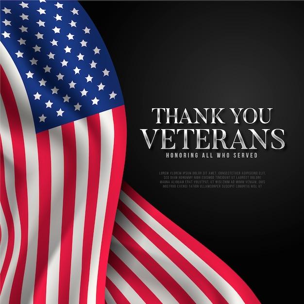 Veteranentag mit realistischer flagge Kostenlosen Vektoren