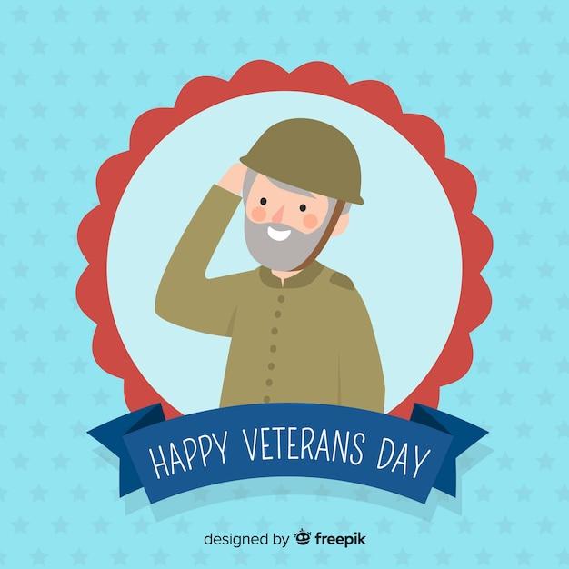 Veteranentageszusammensetzung mit soldat Kostenlosen Vektoren