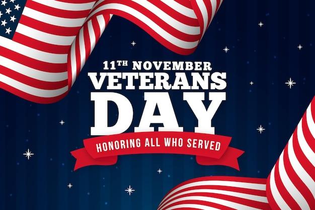 Veteranentagstext mit amerikanischem flaggenhintergrund Premium Vektoren