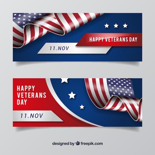 Veterans day abzeichen banner Kostenlosen Vektoren