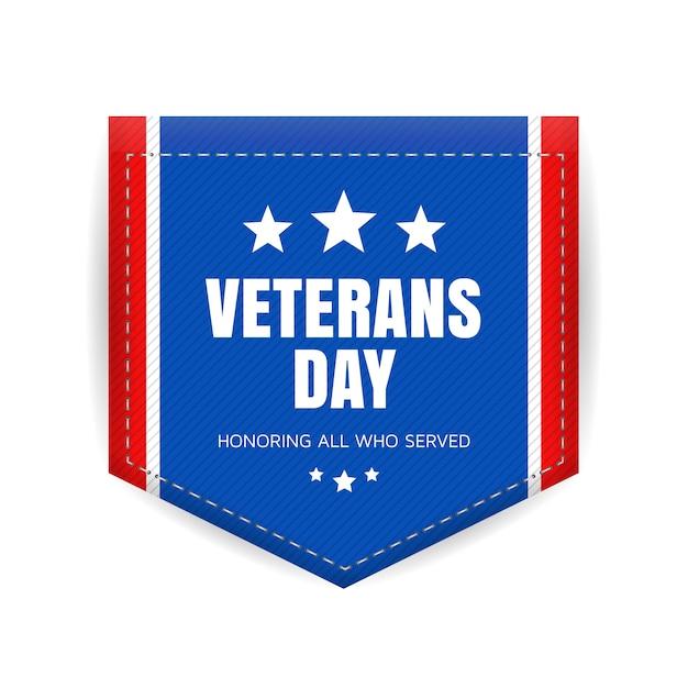 Veterans day abzeichen Premium Vektoren