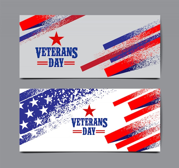 Veterans day banner festgelegt Premium Vektoren