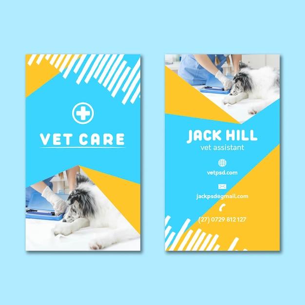 Veterinär doppelseitige visitenkarte Premium Vektoren