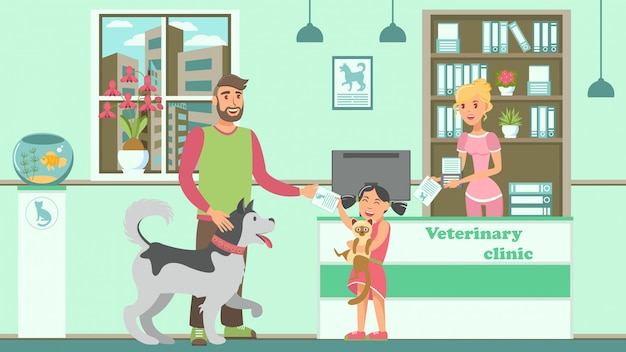 Veterinärbüro-flache vektor-farbillustration Premium Vektoren