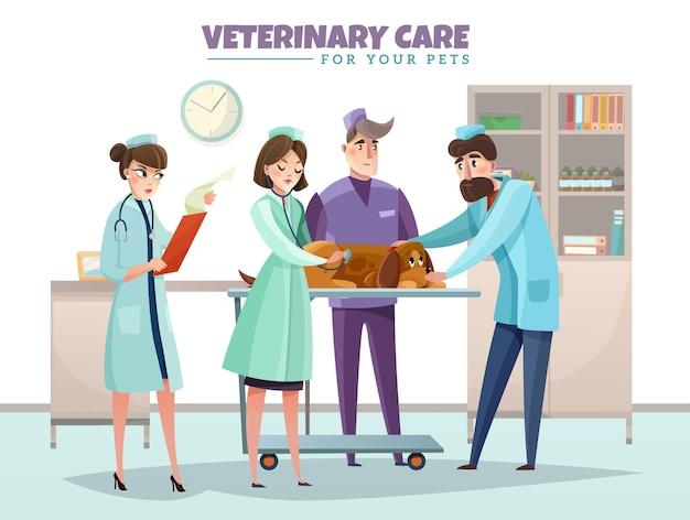 Veterinärsorgfaltzusammensetzung mit tierarztdoktoren während der innenelemente der hundeinspektion flach Kostenlosen Vektoren