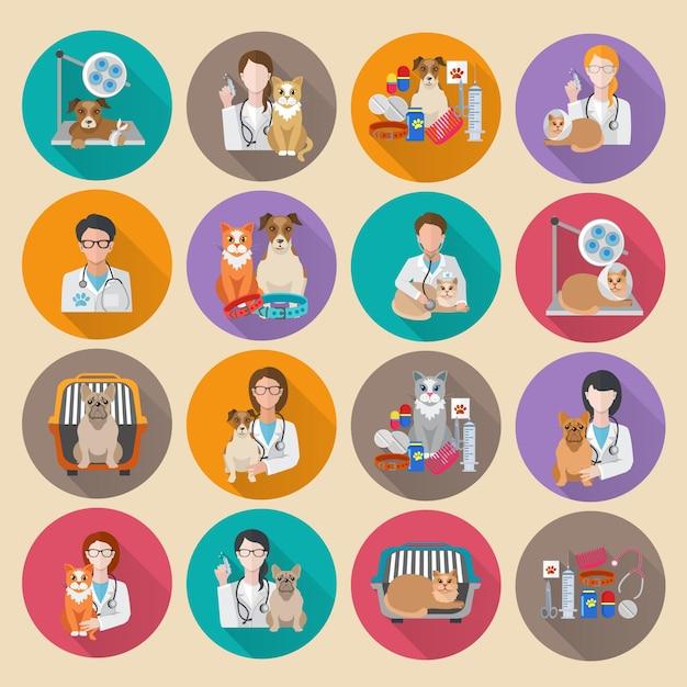 Veterinär Icon Flat Kostenlose Vektoren