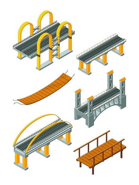 Viaduktbrücke isometrisch. hölzerne stützüberfahrtfluß- oder landstraßenprotokollierungsindustrie-stadtlandschaft Premium Vektoren
