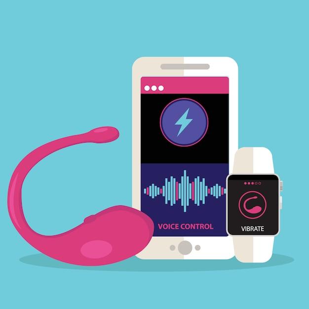 Vibrator sexspielzeug mit der app zur kontrolle von vibrationen Premium Vektoren