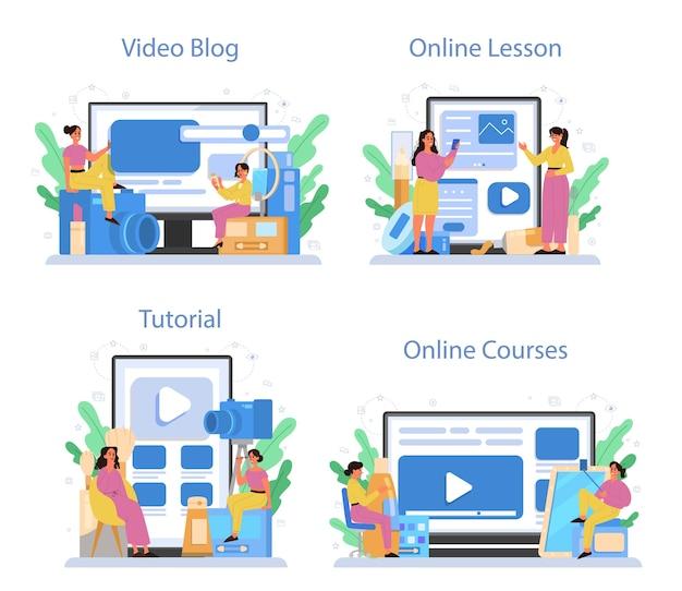 Video beauty blogger online-service oder plattform-set. internet-promi im sozialen netzwerk. videoblog, online-kurs, online-lektion, tutorial. Premium Vektoren