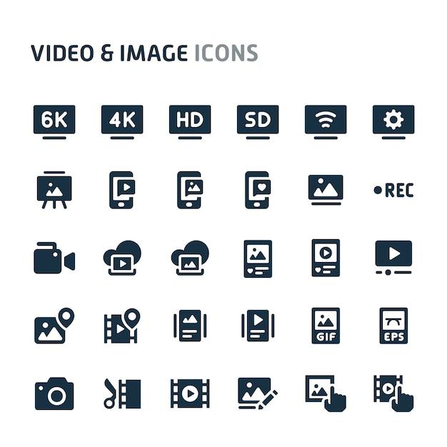 Video & bilder icon set. fillio black icon-serie. Premium Vektoren
