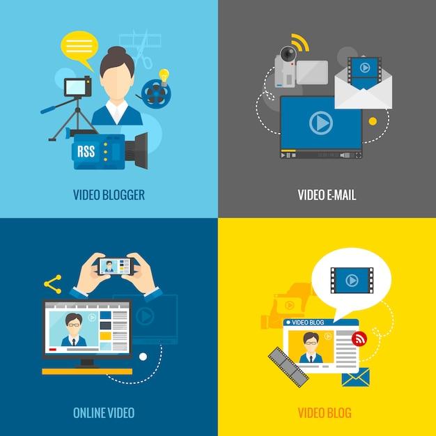 Video blog flat set Kostenlosen Vektoren